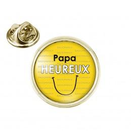 Pin's rond 2cm doré Papa Heureux - Fond jaune