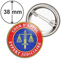 Badge 38mm Epingle Cocarde Bleu Rouge Expert Judiciaire Cours d'Appel Texte Blanc