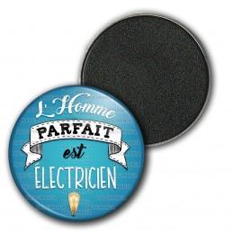 Magnet Aimant Frigo 3.8cm L'Homme Parfait est ELECTRICIEN