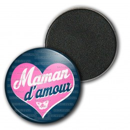 Magnet Aimant Frigo 3.8cm Maman d'Amour - Grand Cœur Rose Fond Bleu