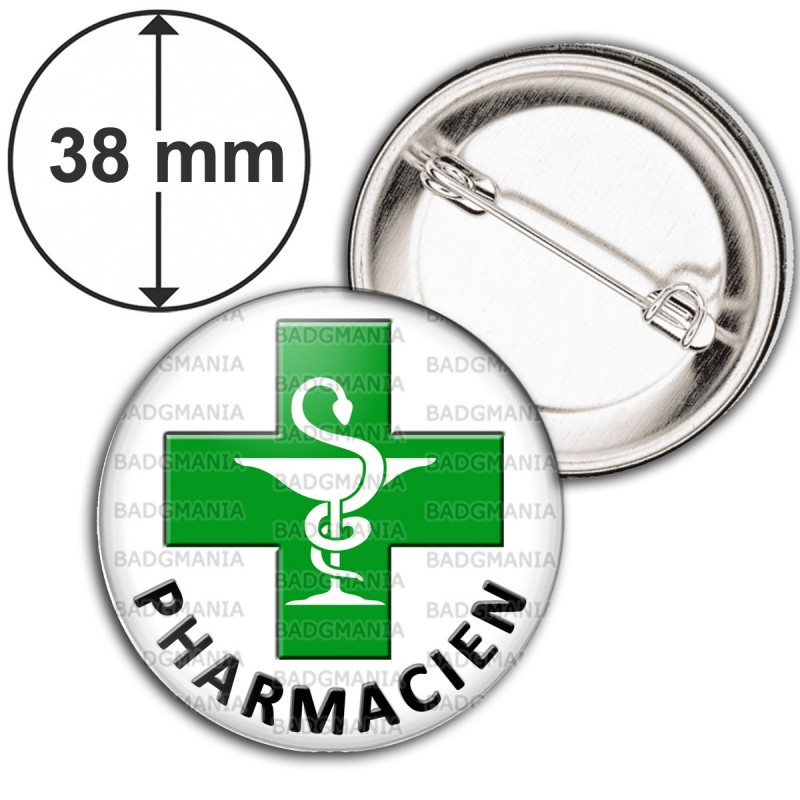Badge 38mm Epingle Caducée Esculape Croix Verte Pharmacie Pharmacien