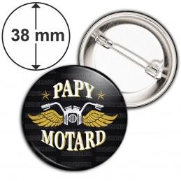 Badge 38mm Epingle Papy Motard - Moto Ailée fond noir