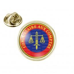 Pin's rond 2cm doré Cocarde Commissaire Aux Comptes Bleu Rouge Glaive Balance