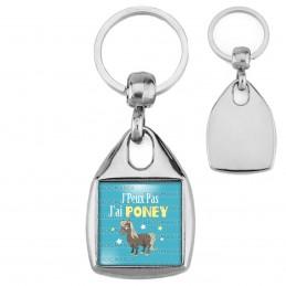 Porte-Clés Carré Acier J'Peux Pas J'ai Poney - Equitation fond bleu