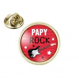 Pin's rond 2cm doré Papy Rock - Guitare