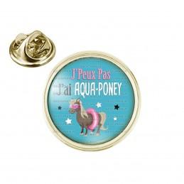 Pin's rond 2cm doré J'Peux Pas J'ai Aqua-Poney - Poney Boué