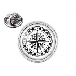 Pin's rond 2cm argenté Compas Boussole 2 - Symbole Marin
