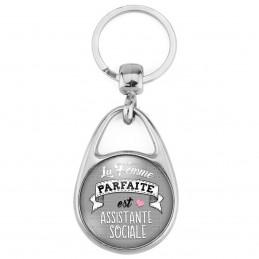 Porte Clés Métal 2 Faces Logo 3cm La Femme Parfaite est ASSISTANTE SOCIALE