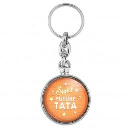 Porte-Clés forme Montre Antique 2 faces Super Future TATA - Etoiles Fond Orange