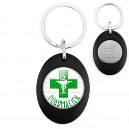 Porte-Clés Noir Ovale Jeton Caddie Pharmacien Caducée Esculape Croix Verte Fond Blanc