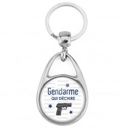Porte Clés Métal 2 Faces Logo 3cm Gendarme qui déchire - P.A. Fond Blanc