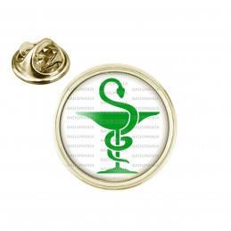 Pin's rond 2cm doré Caducée Esculape Pharmacie Vert