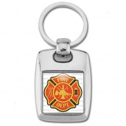 Porte Clés Rectangle Acier 2 Faces Sapeurs Pompiers Fire Dept USA