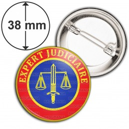 Badge 38mm Epingle Cocarde Expert Judiciaire Bleu Rouge Glaive Balance