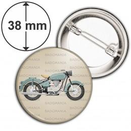Badge 38mm Epingle Moto Ancienne - Fond Beige Motard