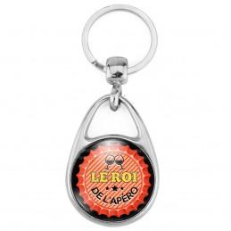 Porte Clés Métal 2 Faces Logo 3cm Le Roi de l'Apéro - Capsule bière Rouge