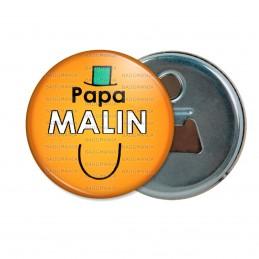 Décapsuleur 6cm Aimant Magnet Papa Malin - Fond orange