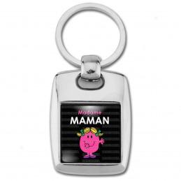 Porte Clés Rectangle Acier 2 Faces Madame MAMAM Patate - Noir