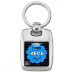 Porte Clés Rectangle Acier 2 Faces Papy Rêve - Fond bleu