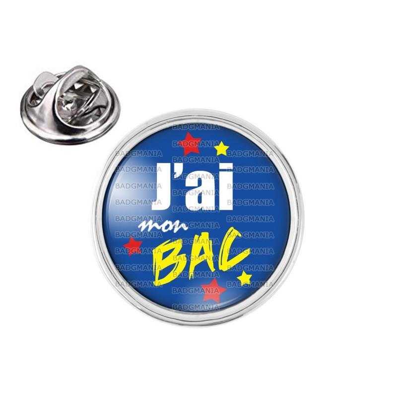 Pin's rond 2cm argenté J'ai mon BAC - Etoiles Fond Bleu