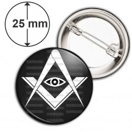 Badge 25mm Epingle Compas Equerre Francs-Maçons Symbole Maçonnique Blanc fond Noir