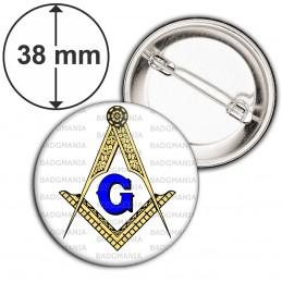Badge 38mm Epingle Compas Equerre Francs-Maçons Symbole Maçonnique Or et Bleu