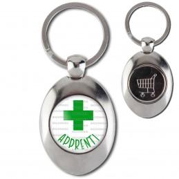 Porte-Clés Acier Ovale Jeton Caddie Apprenti en Pharmacie Croix Verte Fond Blanc