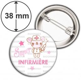 Badge 38mm Epingle Super Infirmière - Peluche Fond blanc