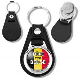 Porte-Clés Cuir Vegan Rond Jeton Caddie Fière d'Etre Belge Drapeau Belge