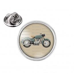 Pin's rond 2cm argenté Moto Ancienne - Fond Beige Motard