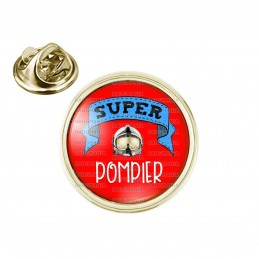 Pin's rond 2cm doré Super POMPIER