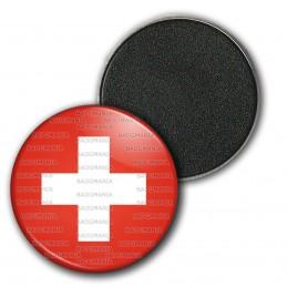 Magnet Aimant Frigo 3.8cm Drapeau Suisse Switzerland Flag Croix Blanche Emblème