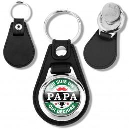 Porte-Clés Cuir Vegan Rond Jeton Caddie Je suis un PAPA qui déchire - Fond capsule bière