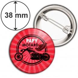 Badge 38mm Epingle Papy Motard - Moto Ailée fond rouge