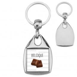 Porte-Clés Carré Acier Belgique Carré Chocolat