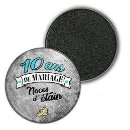 Magnet Aimant Frigo 3.8cm 10 ans de Mariage Noces d'Etain - Anneaux Anniversaire Mariage
