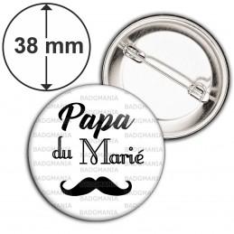 Badge 38mm Epingle Papa du Marié - Moustache Mariage Cérémonie