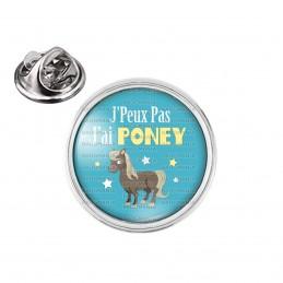 Pin's rond 2cm argenté J'Peux Pas J'ai Poney - Equitation fond bleu
