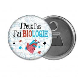 Décapsuleur 6cm Aimant Magnet J'peux Pas J'ai Biologie - Coeur Fond Blanc