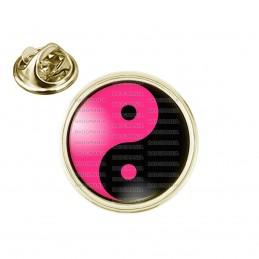 Pin's rond 2cm doré Yin Yang Rose Fuschia Noir Harmonie Equilibre Feng Shui Paix Peace