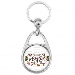 Porte Clés Métal 2 Faces Logo 3cm Vegan Feuilles Legumes