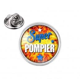 Pin's rond 2cm argenté Super Pompier - Fond Feu Flamme Rouge Orange Etoiles