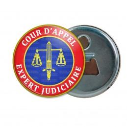 Décapsuleur 6cm Aimant Magnet Cocarde Bleu Rouge Expert Judiciaire Cours d'Appel Texte Blanc
