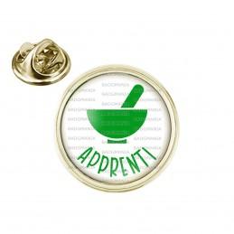 Pin's rond 2cm doré Apprenti Préparateur en Pharmacie Mortier Vert Fond Blanc