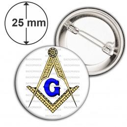 Badge 25mm Epingle Compas Equerre Francs-Maçons Symbole Maçonnique Or et Bleu