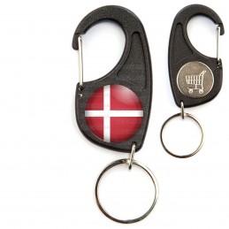 Porte-Clés Mousqueton Jeton Caddie Drapeau Danemark Flag Rouge Blanc Viking