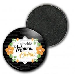 Magnet Aimant Frigo 3.8cm Ma petite maman chérie - Fleurs Orange Fond Noir