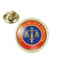 Pin's rond 2cm doré Cocarde Commissaire Aux Comptes Bleu Rouge Glaive Balance Cercle Jaune
