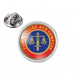 Pin's rond 2cm argenté Cocarde Commissaire Aux Comptes Bleu Rouge Glaive Balance Cercle Jaune