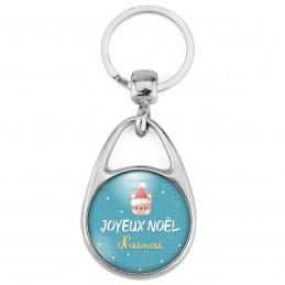 Porte Clés Métal 2 Faces Logo 3cm Joyeux Noël Nounou - Ourson bonnet rouge fond bleu